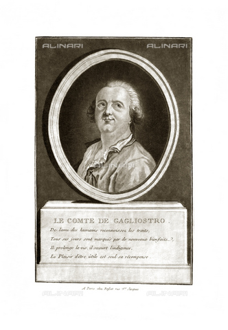 GBB-F-008044-0000 - 1790 ca, FRANCE: Alessandro CONTE DI CAGLIOSTRO (born GIUSEPPE BALSAMO, 1743-1795). Portrait engraved, Paris. The most famous italian adventurer, magician, healer and falsiefer. Escaped from the France (1786) for the fake collier of Queen Marie Antoniette, arrested like heretic and freemason. - © ARCHIVIO GBB / Archivi Alinari