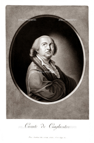 GBB-F-008045-0000 - 1790 ca, FRANCE: Alessandro CONTE DI CAGLIOSTRO (born GIUSEPPE BALSAMO, 1743-1795). Portrait engraved by J. S. Negges from original portrait by Francesco Bartolozzi, London. The most famous italian adventurer, magician, healer and falsiefer. Escaped from the France (1786) for the fake collier of Queen Marie Antoniette, arrested like heretic and freemason. - © ARCHIVIO GBB / Archivi Alinari