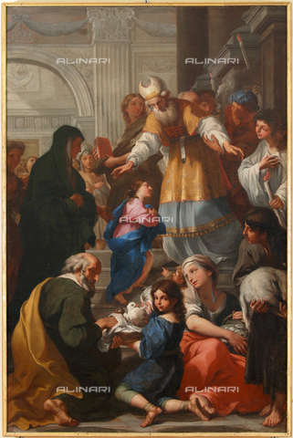 GNU-F-000910-0000 - Presentation of the Virgin in the temple, oil on canvas, 242 x 164 cm, Scaramuccia Luigi Pellegrino (1616-1680), Galleria Nazionale dell'Umbria, Perugia - (C) Galleria Nazionale dell'Umbria - Fratelli Alinari