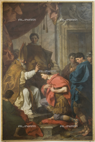 GNU-F-000942-0000 - Saint Ambrose absolves the emperor Theodosius, 1745, oil on canvas, 329 x 217 cm, Pierre Subleyras (1699-1749), Galleria Nazionale dell'Umbria, Perugia - (C) Galleria Nazionale dell'Umbria - Fratelli Alinari