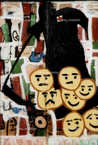 GRA-F-000035-0000 - Rappresentazione della morte, Graffiti & Wall Art sul Muro di Berlino, abbattuto a partire dalla notte del 9 Novembre del 1989 - Data dello scatto: 1987 - Gremese Archivio/Archivi Alinari, Francesco e Alessandro Alacevich