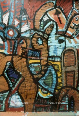 GRA-F-000036-0000 - Opera attribuibile a Christophe Bouchet. Graffiti & Wall Art sul Muro di Berlino, abbattuto a partire dalla notte del 9 Novembre del 1989 - Data dello scatto: 1987 - Gremese Archivio/Archivi Alinari, Francesco e Alessandro Alacevich