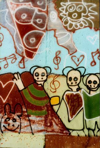 GRA-F-000039-0000 - Figure e fiori, Graffiti & Wall Art sul Muro di Berlino, abbattuto a partire dalla notte del 9 Novembre del 1989 - Data dello scatto: 1987 - Gremese Archivio/Archivi Alinari, Francesco e Alessandro Alacevich