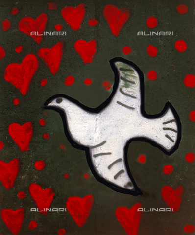 GRA-F-000058-0000 - Dove surrounded by hearts, Graffiti & Wall Art on the Berlin Wall that fell down beginning from the night of 9th November 1989 - Data dello scatto: 1987 - Francesco and Alessandro Alacevich / Gremese Archive/Alinari Archives