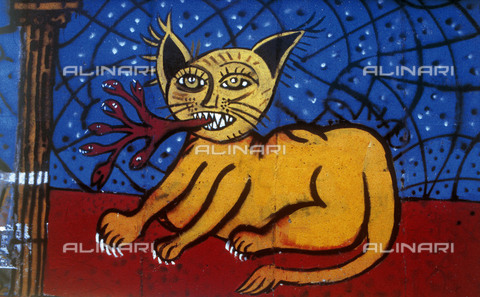 GRA-F-000060-0000 - Cat, artwork by Christophe Bouchet. Graffiti & Wall Art on the Berlin Wall that fell down beginning from the night of 9th November 1989 - Data dello scatto: 1987 - Francesco and Alessandro Alacevich / Gremese Archive/Alinari Archives