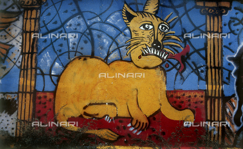 GRA-F-000073-0000 - Cat, artwork by Christophe Bouchet. Graffiti & Wall Art on the Berlin Wall that fell down beginning from the night of 9th November 1989 - Data dello scatto: 1987 - Francesco and Alessandro Alacevich / Gremese Archive/Alinari Archives