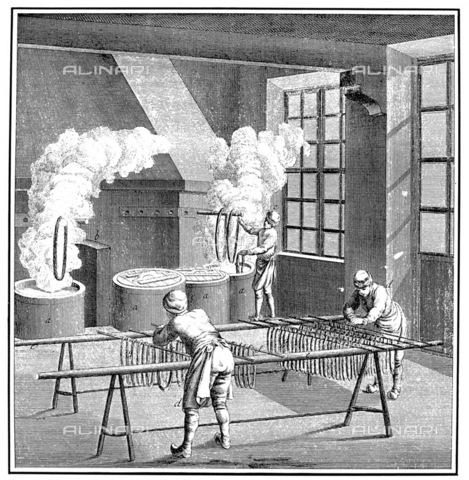 GRC-F-002161-0000 - Operai all'interno di una industria tessile: tintura e asciugatura del filato da tessere per realizzare gli arazzi; incisione su rame, scuola francese - Granger, NYC /Archivi Alinari