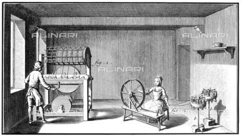 GRC-F-004291-0000 - Un uomo e una donna all'interno di una manifattura tessile lavorano al telaio, incisione,  scuola francese - Granger, NYC /Archivi Alinari