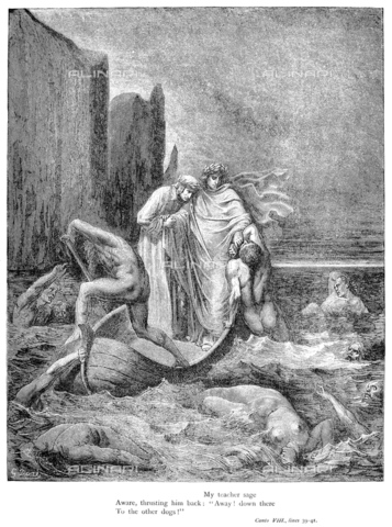 "GRC-F-006874-0000 - Virgil and Dante cross the Stygian swamp - Inferno canto VIII (verses 39-41), Divine Comedy, ""My wise teacher, aware, rejecting him: Go! Over there to the other dogs"". Wood engraving by Gustave Doré, after 1861 - Granger, NYC/Alinari Archives"