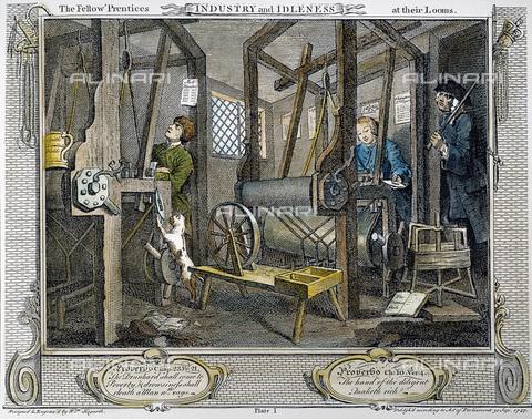 """GRC-F-007087-0000 - Operai al lavoro in una industria meccanico-tessile, illustrazione di """"The Fellow 'Prentices at the Looms"""", """"Industry and Idleness"""", William Hogarth (1697-1764), incisione - Sarin Images / Granger, NYC /Archivi Alinari"""
