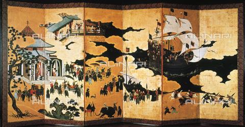 GRC-F-007384-0000 - The departure from Goa of a Portuguese merchant ship en route to Japan, painted Namban screen, Kano Naizen (1570-1616) - Granger, NYC/Alinari Archives