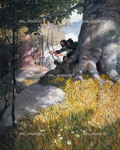 GRC-F-007508-0000 - Robin Hood e i suoi compagni prestano aiuto a Will Scarlet, olio su tela, 1917, N.C. Wyeth (1882-1945) - Granger, NYC /Archivi Alinari