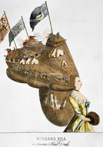 """GRC-F-007525-0000 - """"Bunkers Hill or America's Head Dress"""", English satirical engraving on British victory at the Battle of Bunker Hill on 17 June 1775 - Granger, NYC/Alinari Archives"""