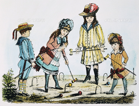 GRC-F-007860-0000 - Children playing croquet, color engraving, 19th century American art - Sarin Images / Granger, NYC/Alinari Archives