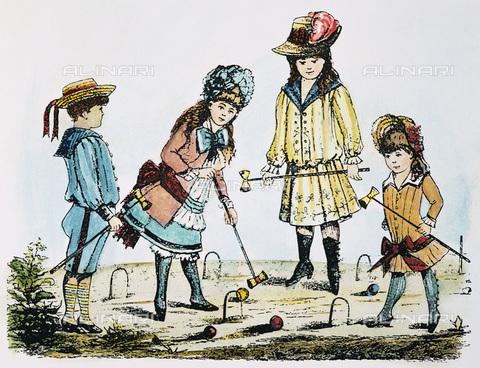 GRC-F-007860-0000 - Bambini che giocano a croquet, incisione a colori, Arte americana del XIX sec. - Sarin Images / Granger, NYC /Archivi Alinari