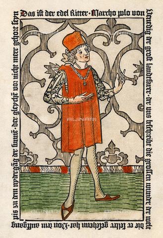 """GRC-F-008308-0000 - Ritratto di Marco Polo, xilografia da """"Marco Polo"""" edizione di Norimberga del 1477, Arte tedesca del XV sec. - Sarin Images / Granger, NYC /Archivi Alinari"""