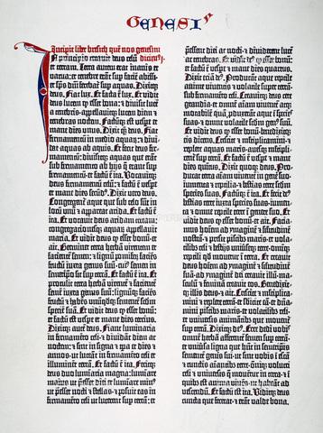 GRC-F-008618-0000 - La prima pagina di Genesi da una delle quarantasei copie esistenti della Bibbia di Gutenberg stampata a Mainz, in Germania, tra il 1450 e il 1456 - Granger, NYC /Archivi Alinari