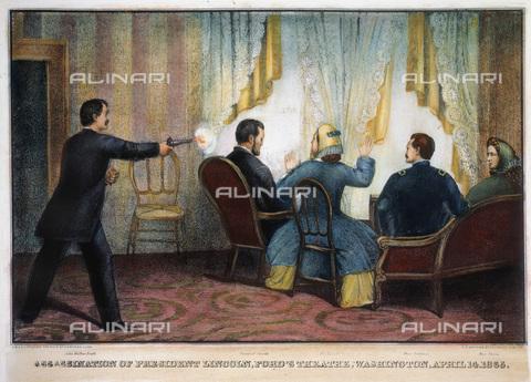 GRC-F-008635-0000 - John Wilkes Booth assassina il presidente Abraham Lincoln al teatro di Ford, Washington, il 14 aprile 1865; litografia - Sarin Images / Granger, NYC /Archivi Alinari