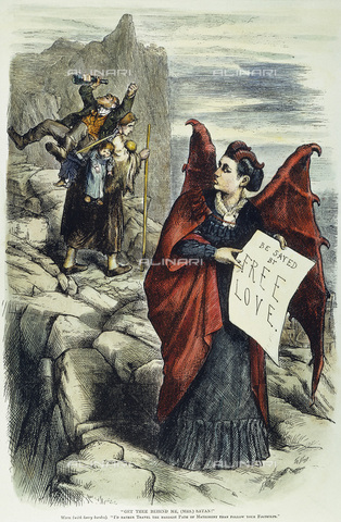 GRC-F-008947-0000 - 'Get You Behind Me, (Mrs) Satan!', A press in which feminist activist Victoria Claflin Woodhull, an advocate of free love, is attacked by Thomas Nast in 1872 - Granger, NYC/Alinari Archives