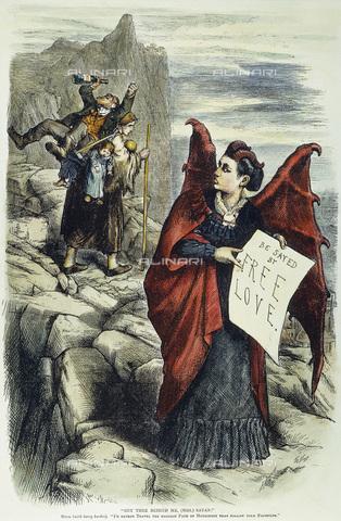 GRC-F-008947-0000 - 'Get You Behind Me, (Mrs) Satan!', stampa in cui viene attaccata l'attivista femminista Victoria Claflin Woodhull sostenitrice dell'amore libero, opera di Thomas Nast del 1872 - Granger, NYC /Archivi Alinari