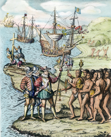 GRC-F-009511-0000 - Cristoforo Colombo sbarca sull'isola, poi denominata Hispaniola, prima colonia europea nel Nuovo Mondo; stampa - Sarin Images / Granger, NYC /Archivi Alinari