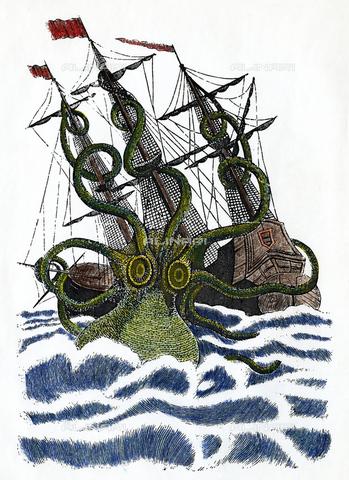 GRC-F-009536-0000 - Octopus gigante: un polpo gigante che attacca una nave, incisione, francese, da un'opera nella Chiesa di Saint Malo del XVI secolo - Sarin Images / Granger, NYC /Archivi Alinari