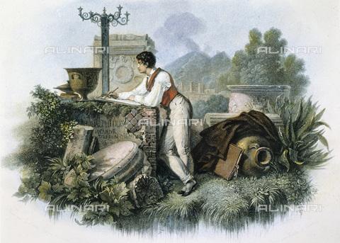 GRC-F-009695-0000 - Il poeta inglese Lord Byron (1788-1824) ritratto tra antiche rovine, incisione, Scuola francese dell'inizio del XIX secolo - Sarin Images / Granger, NYC /Archivi Alinari