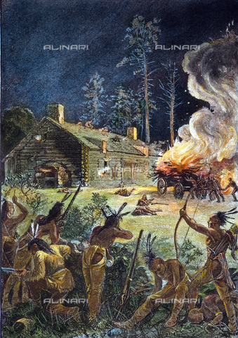 GRC-F-010529-0000 - Nativi americani attaccano un villaggio del Massachusetts (Brookfield o Deerfield) durante la guerra di re Filippo del 1675, incisione a colori, XIX sec. - Granger, NYC /Archivi Alinari