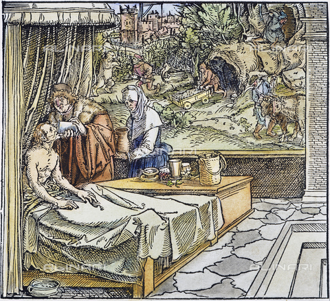 GRC-F-010897-0000 - Doctor treating a patient, woodcut, Hans Weiditz (1495-1537) - Sarin Images / Granger, NYC/Alinari Archives