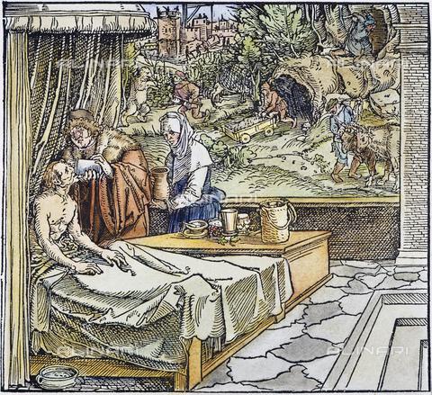 GRC-F-010897-0000 - Medico che cura un paziente, xilografia, Hans Weiditz (1495-1537) - Granger, NYC /Archivi Alinari, Sarin Images