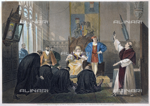 GRC-F-011138-0000 - A delegation of Spanish Jews before Queen Isabella and King Ferdinand before the expulsion of Jews from Spain in 1492, engraving, 19th century Art. - Sarin Images / Granger, NYC/Alinari Archives