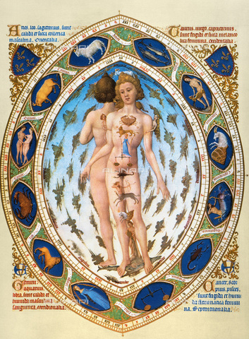 GRC-F-011815-0000 - Anatomical man with the zodiacal signs associated with the parts of the body, miniature taken from Jean's 'Tres Riches Heures', Duke of Berry, Limbourg Brothers (active 1385-1416), Musée Condé, Chantilly - Granger, NYC/Alinari Archives