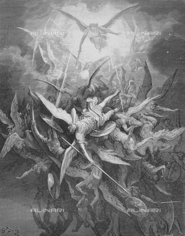"GRC-F-013145-0000 - Satan and his rebellious angels are cast out of heaven, ""Paradise Lost"" (Book I, lines 44-45) by John Milton, engraving by Gustave Doré, around 1866 - Granger, NYC/Alinari Archives"