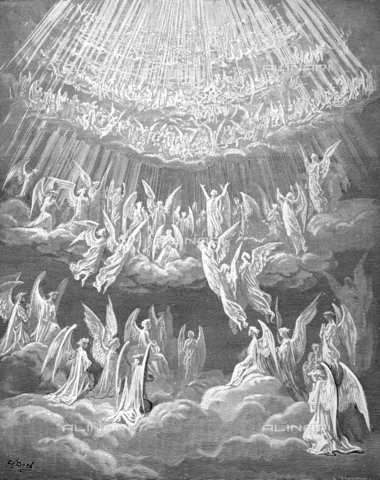 GRC-F-013926-0000 - The celestial choir, Paradiso - Divine Comedy, wood engraving by Gustave Doré, around 1861 - Granger, NYC/Alinari Archives