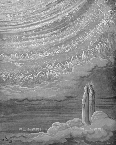 GRC-F-013927-0000 - Dante and Beatrice in the Ninth Heaven of Paradise - Divine Comedy, wood engraving by Gustave Doré, around 1861 - Granger, NYC/Alinari Archives