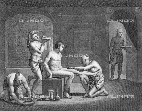GRC-F-017509-0000 - Interno di un bagno termale egiziano, incisione del XIX secolo - Granger, NYC /Archivi Alinari