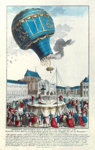 GRC-F-020361-0000 - Primo volo di una mongolfiera il 19 settembre 1783, con una pecora, un'anatra e un gallo, Versailles; illustrazione a stampa - Granger, NYC /Archivi Alinari