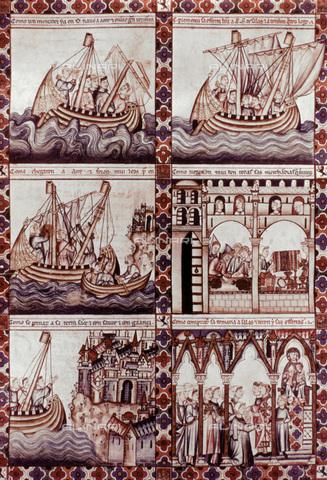 GRC-F-021046-0000 - The journey of a Spanish merchant to Acri, illuminated manuscript, Spanish Art of the XIII - Granger, NYC/Alinari Archives