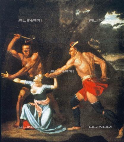 GRC-F-021397-0000 - Due nativi americani, alleati del generale Burgoyne, assassinano Jane McCrea il 27 luglio 1777, olio su tela, John Vanderlyn (1775-1852) - Granger, NYC /Archivi Alinari