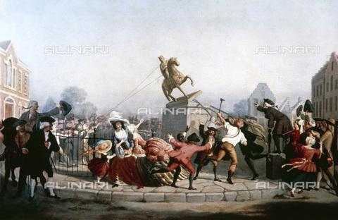 GRC-F-023590-0000 - La demolizione della statua di re Giorgio III a New York, olio su tela, William Walcutt (1819-1882) - Data dello scatto: 1854 - Granger, NYC /Archivi Alinari