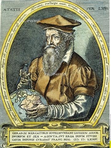 GRC-F-027511-0000 - Ritratto del cartografo fiammingo Gerardo Mercatore, latinizzato in Gerardus Mercator (1512-1594), incisione a colori, Franz Hogenberg (1535-1590) - Granger, NYC /Archivi Alinari