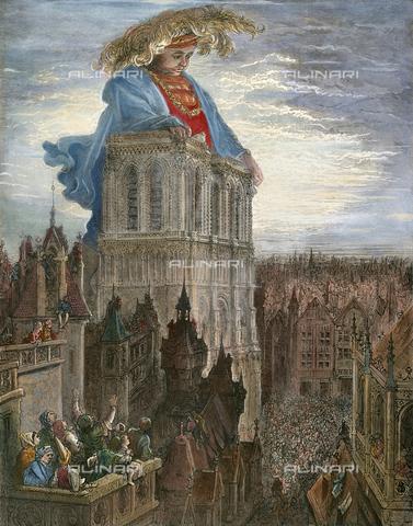"""GRC-F-027690-0000 - Il gigante Gargantua a Notre-Dame, illustrazione di """"Gargantua e Pantagruele"""" di François Rabelais (1494-1553), incisione su legno, da un disegno di Gustave Doré (1832-1883) - Sarin Images / Granger, NYC /Archivi Alinari"""