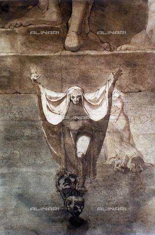"""GRC-F-031186-0000 - Inferno: Dante e Virgilio sul fiume Cocito coperto di ghiaccio, da """"La Divina Commedia"""" di Dante Alighieri, olio su tela, Johann Heinrich Füssli (1741-1825) - Granger, NYC /Archivi Alinari"""