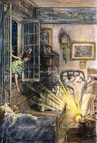 """GRC-F-031920-0000 - Peter Pan vola nella stanza dei bambini, illustrazione a colori di Francis D. Bedford per l'edizione del 1911 del """"Peter Pan"""" di J. M. Barrie - Granger, NYC /Archivi Alinari"""