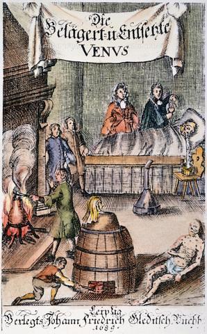 GRC-F-032725-0000 - Fumigazione di un reparto di pazienti affetti da sifilide con vapori di mercurio. Frontespizio di un opuscolo medico tedesco (Lipsia, 1689) - Granger, NYC /Archivi Alinari