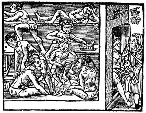 GRC-F-036952-0000 - Interno di un ospizio medievale dove i pazienti sono curati con massaggi e tramite la tecnica della coppettazione, xilografia del XVI secolo - Granger, NYC /Archivi Alinari