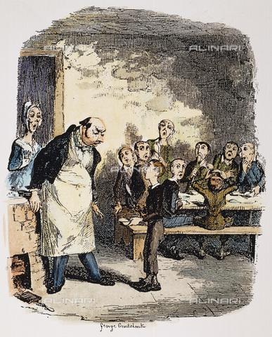 """GRC-F-038898-0000 - Olivier chiede di più, incisione a colori, George Cruikshank (1792-1878), dalla prima edizione di """"Oliver Twist"""" del 1837-1838 di Charles Dickens - Sarin Images / Granger, NYC /Archivi Alinari"""