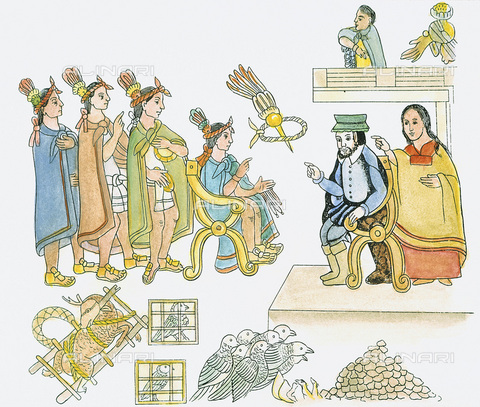 GRC-F-040508-0000 - Dona Marina (Malineli Tenepatl, Malinche, Malintzin) and Hernando Cortes during the meeting with Montezuma II (seated left) in Tenochtitlan in November 1519, drawing, Aztec art - Granger, NYC/Alinari Archives