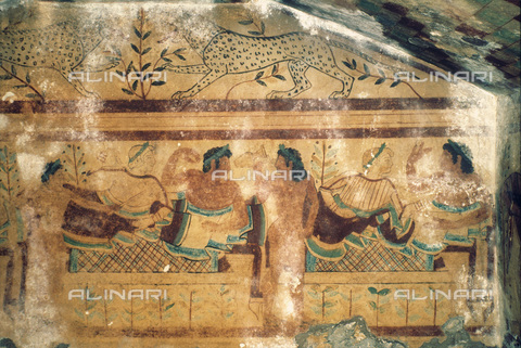 GRC-F-043888-0000 - Scena di banchetto, affresco della Tomba dei Leopardi a Tarquinia, Arte Etrusca del V sec. a.C. - Granger, NYC /Archivi Alinari