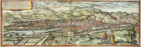 """GRC-F-046706-0000 - Veduta di Firenze, incisione pubblicata a Colonia, illustrazione di """"Civitates Orbis Terrarum"""" di Georg Braun e Franz Hogenberg - Granger, NYC /Archivi Alinari"""